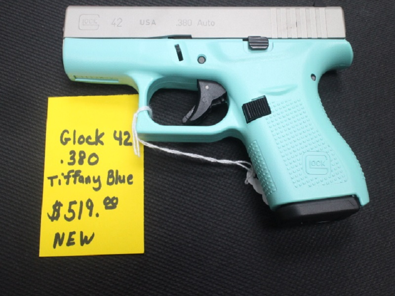 NEW Glock 42 Tiffany Blue 380 ACP, 2 magazine, in box,G-I-35138, $519 00
